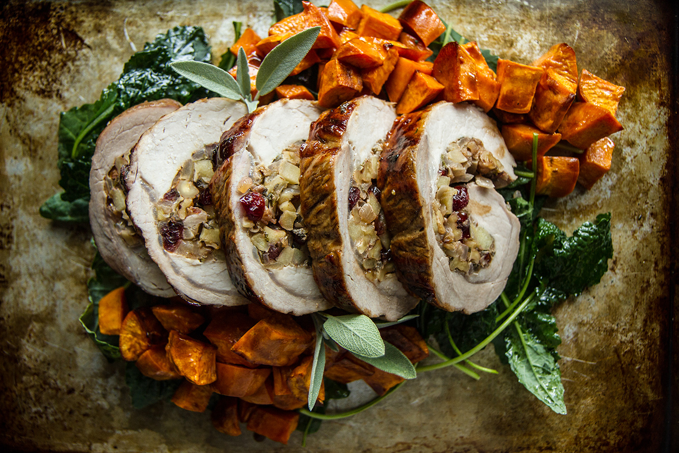 Cider-Glazed Pork Loin with Apple-Walnut stuffing and Roasted Sweet Potatoes