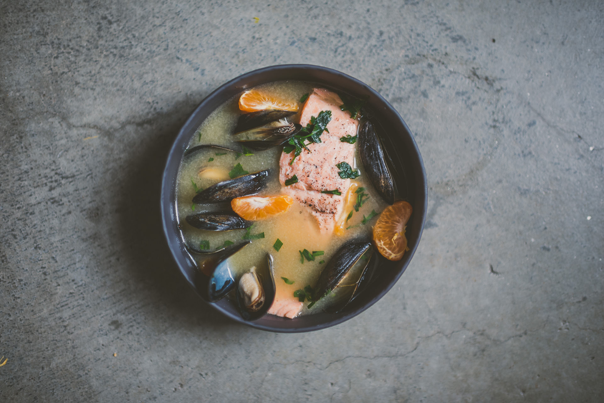 Miso Poached Salmon + Mussels | betty liu