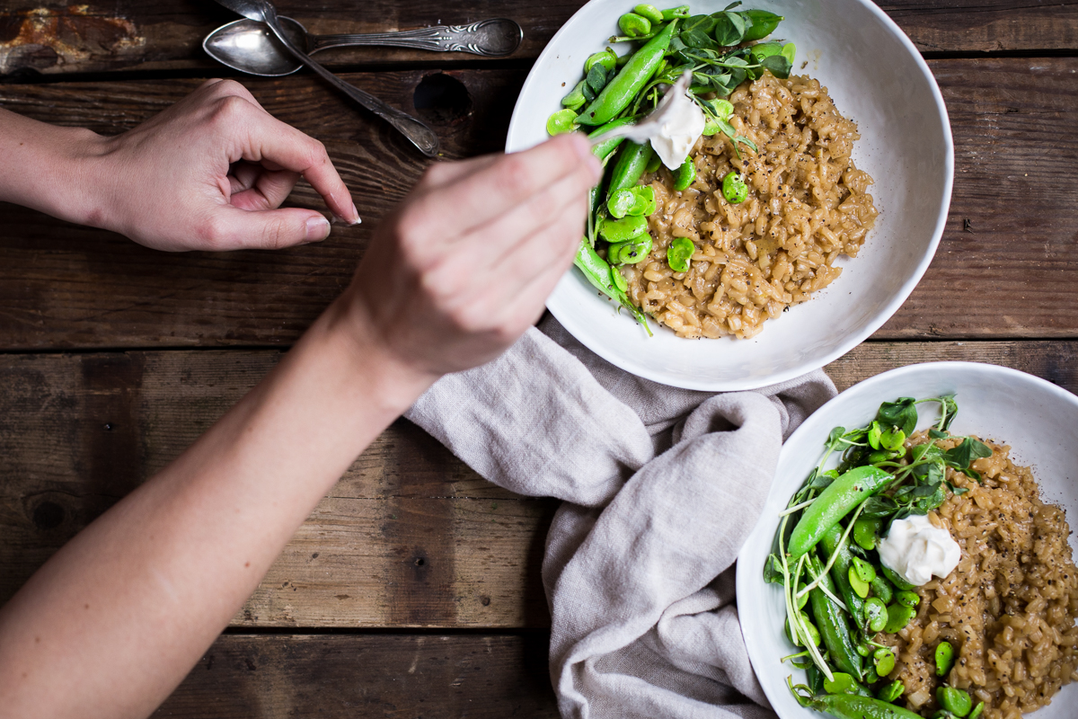 Green Garlic Risotto with Spring Vegetables by Brooke Bass | Wolf Gourmet
