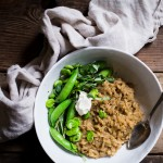 Green Garlic Risotto with Spring Vegetables by Brooke Bass