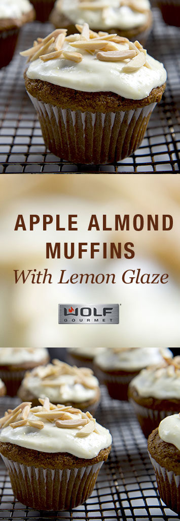 Apple Almond Muffins with Lemon Glaze