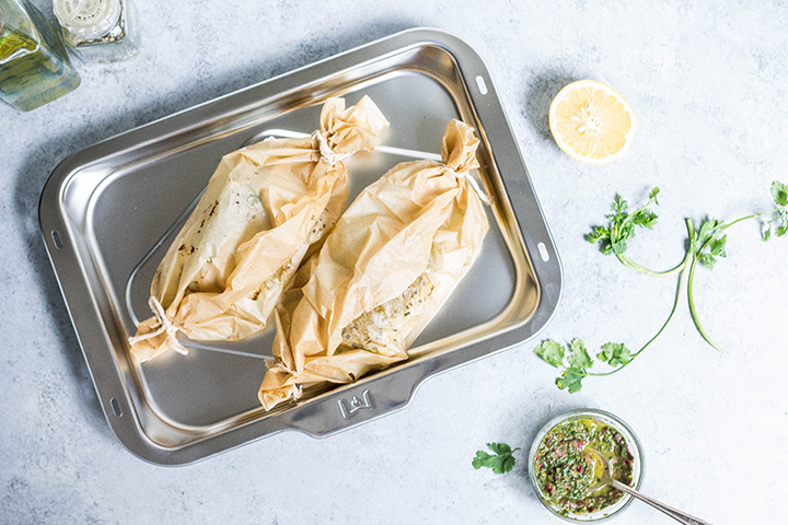 Halibut en Papillote with Salsa Verde & Vegetables