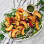 Fried Halloumi & Peach Salad